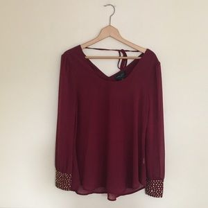 Romeo and Juliet Couture Maroon Golden Gem Blouse